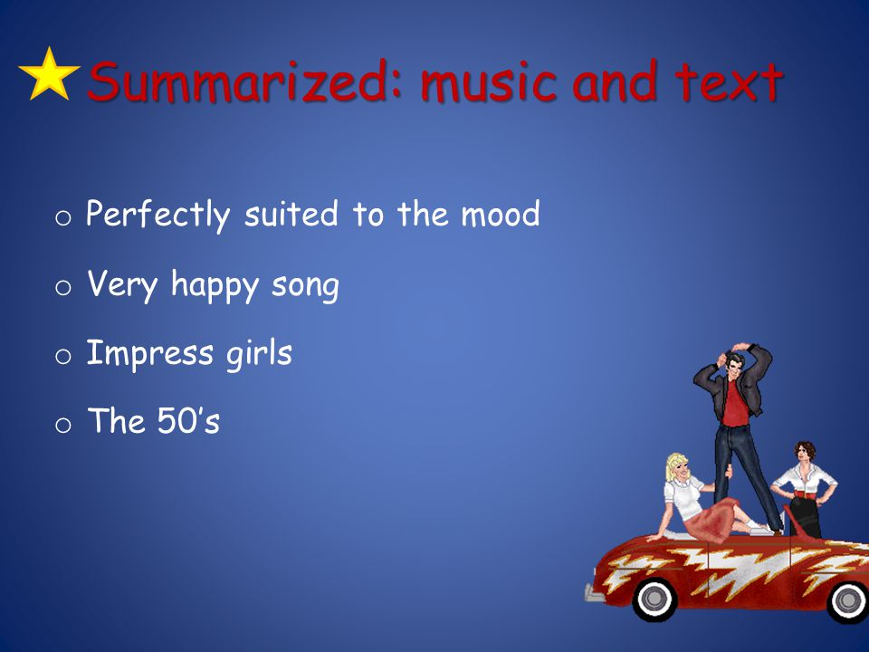 Summarized: music and text