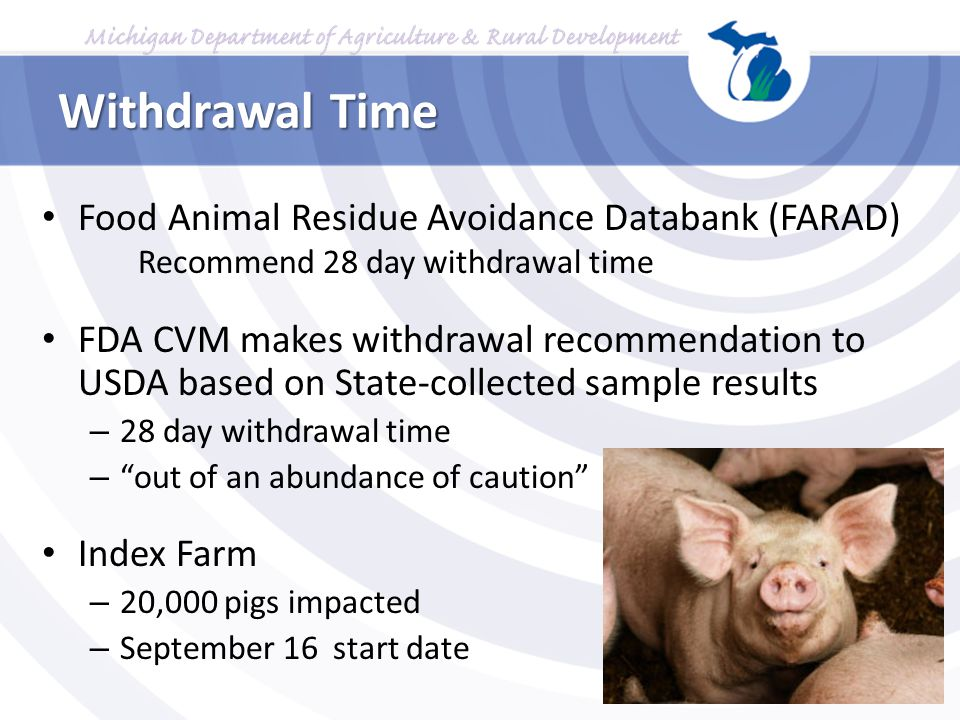 Withdrawal Time Food Animal Residue Avoidance Databank (FARAD) Recommend 28 day withdrawal time.
