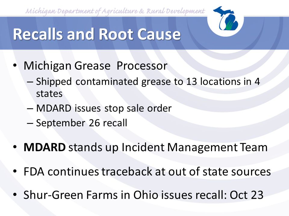 Recalls and Root Cause Michigan Grease Processor