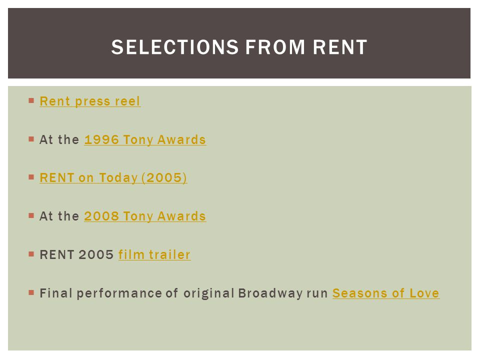 Selections from rent Rent press reel At the 1996 Tony Awards