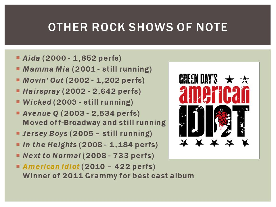 OTHER ROCK SHOWS OF NOTE