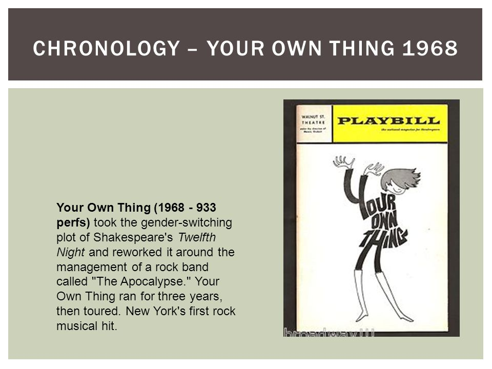 CHRONOLOGY – YOUR OWN THING 1968