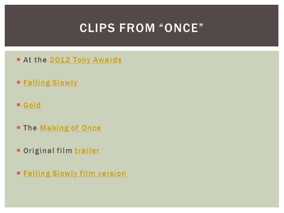 CLIPS from ONCE At the 2012 Tony Awards Falling Slowly Gold