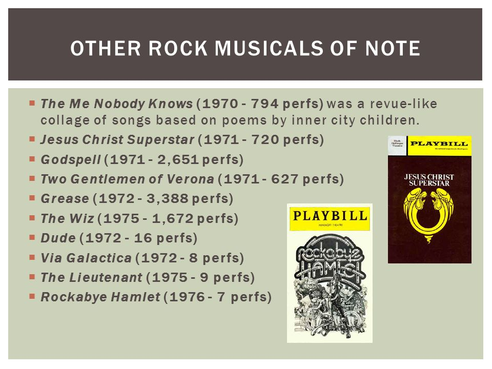 OTHER ROCK MUSICALS OF NOTE