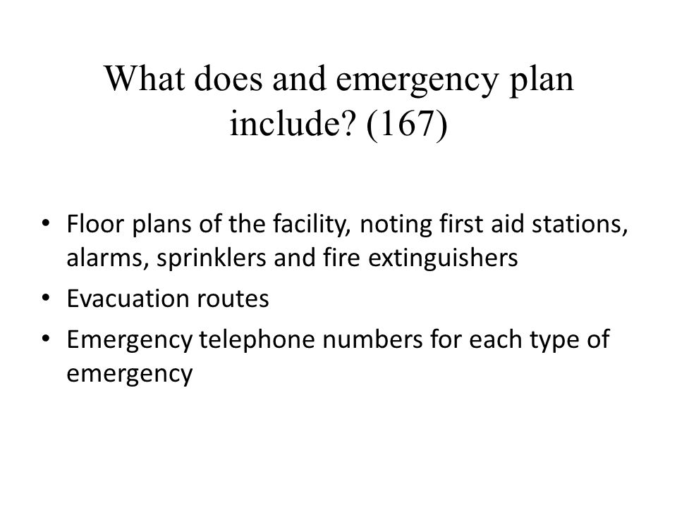 What does and emergency plan include (167)