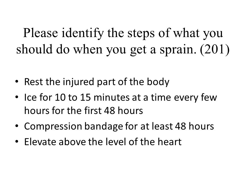 Please identify the steps of what you should do when you get a sprain