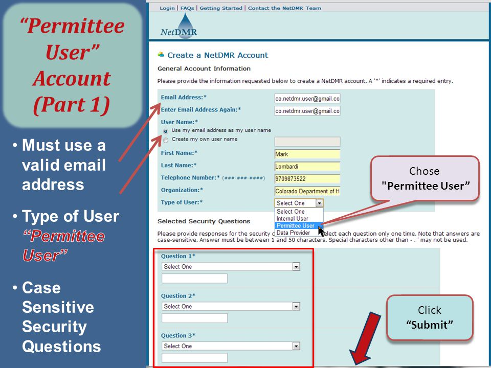 Permittee User Account (Part 1)