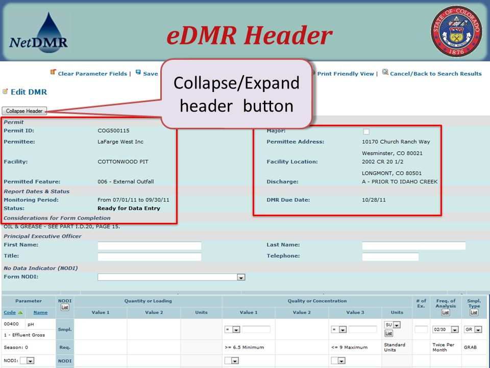 Collapse/Expand header button