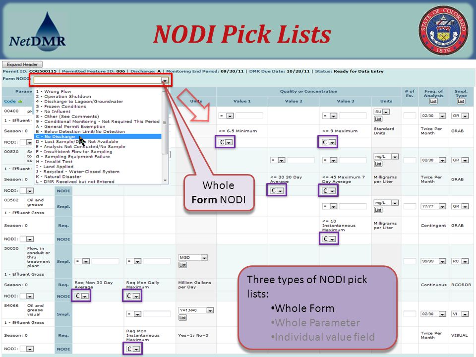 NODI Pick Lists Whole Form NODI Three types of NODI pick lists: