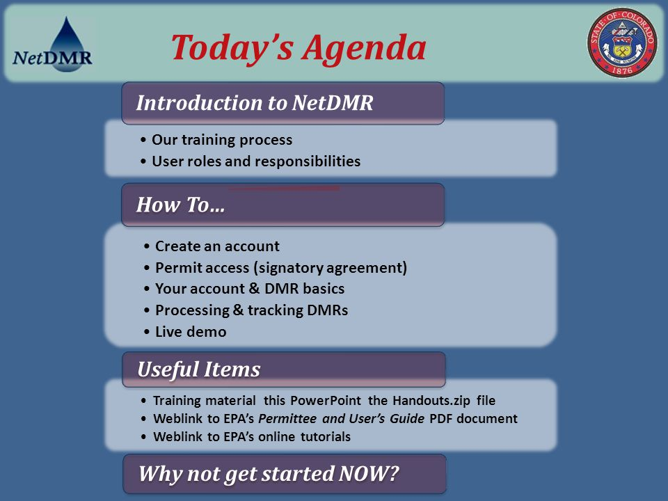 Today's Agenda Introduction to NetDMR How To… Useful Items