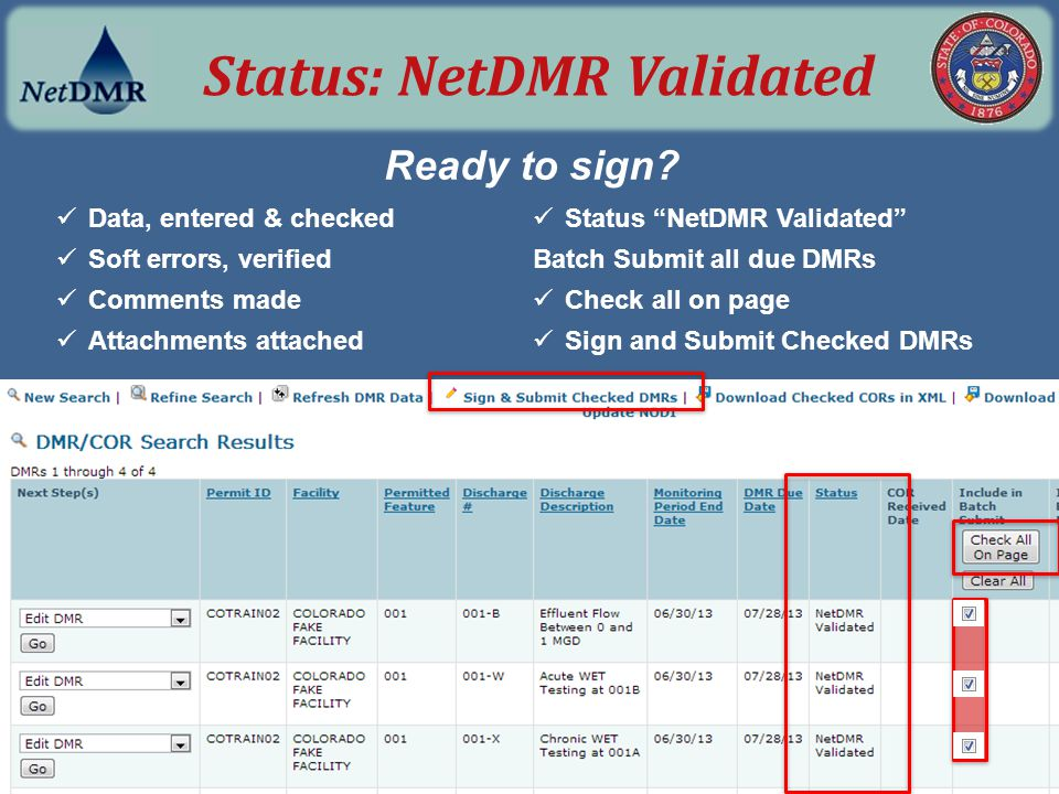 Status: NetDMR Validated
