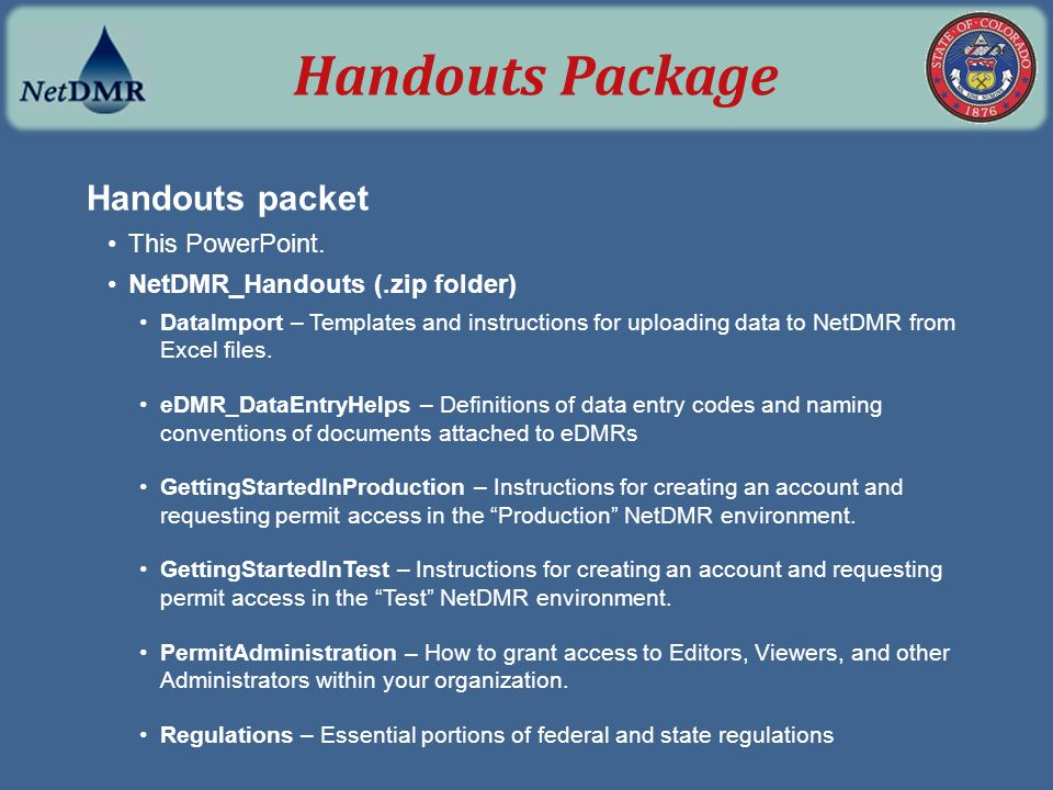 Handouts Package Handouts packet This PowerPoint.