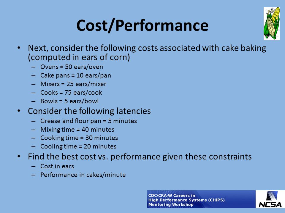 Cost/Performance Next, consider the following costs associated with cake baking (computed in ears of corn)