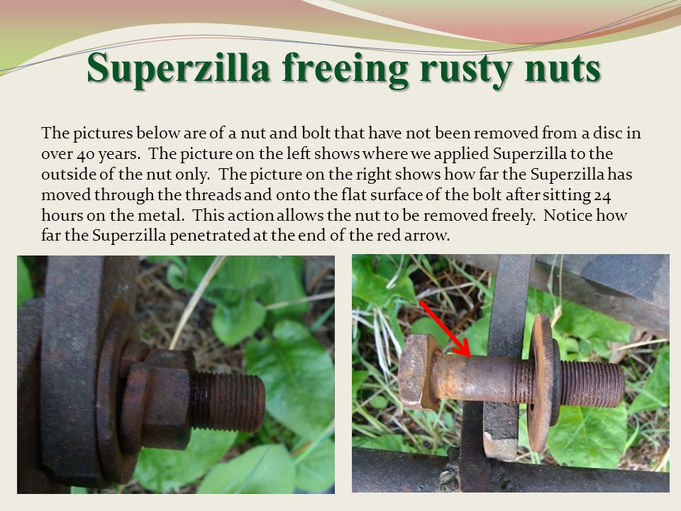 Superzilla freeing rusty nuts