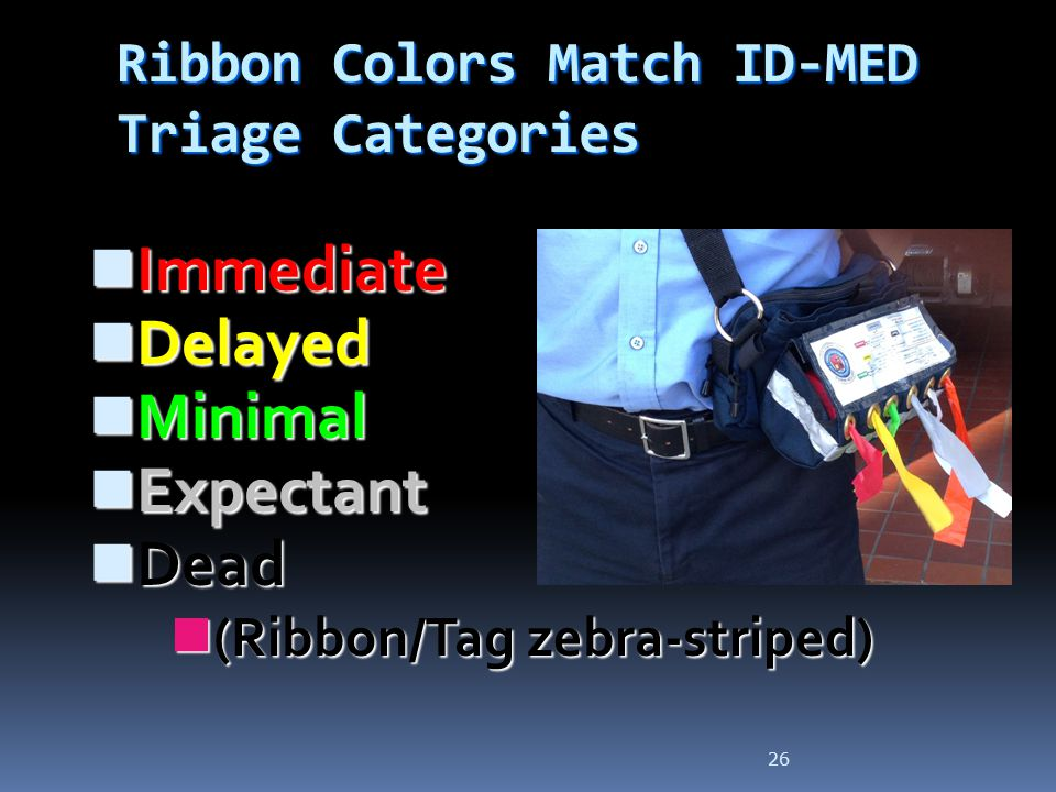 Ribbon Colors Match ID-MED Triage Categories