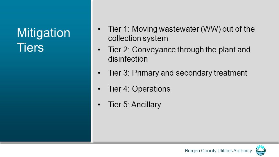 Mitigation Tiers Tier 1: Moving wastewater (WW) out of the collection system. Tier 2: Conveyance through the plant and disinfection.