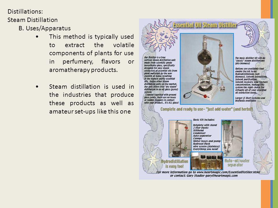 Distillations: Steam Distillation. B. Uses/Apparatus.