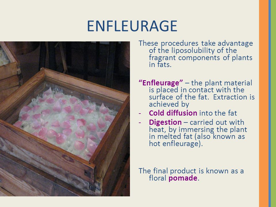 ENFLEURAGE These procedures take advantage of the liposolubility of the fragrant components of plants in fats.