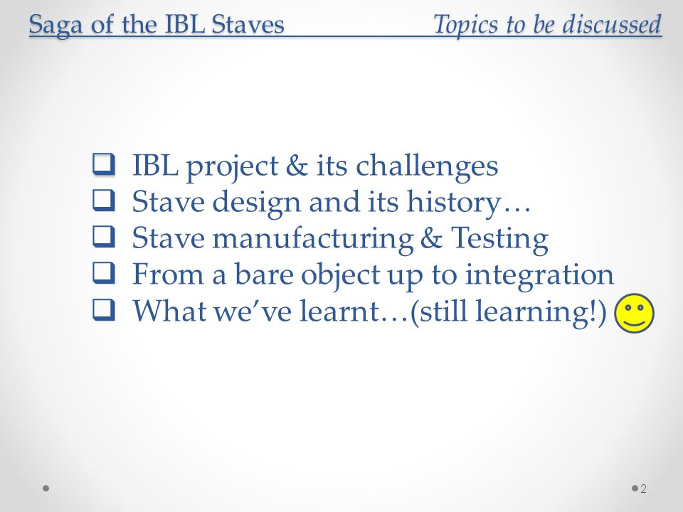 Saga of the IBL Staves Topics to be discussed