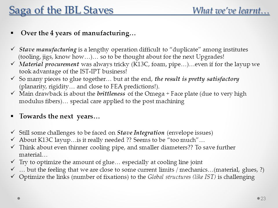 Saga of the IBL Staves What we've learnt…