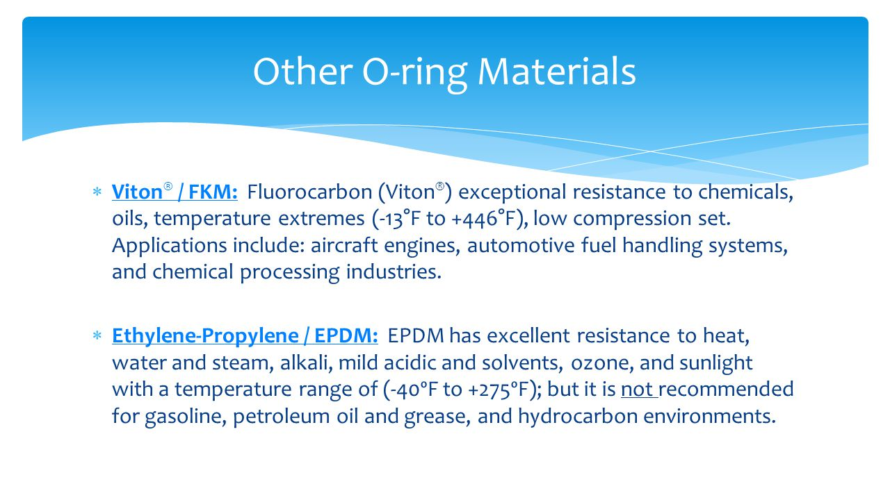 Other O-ring Materials