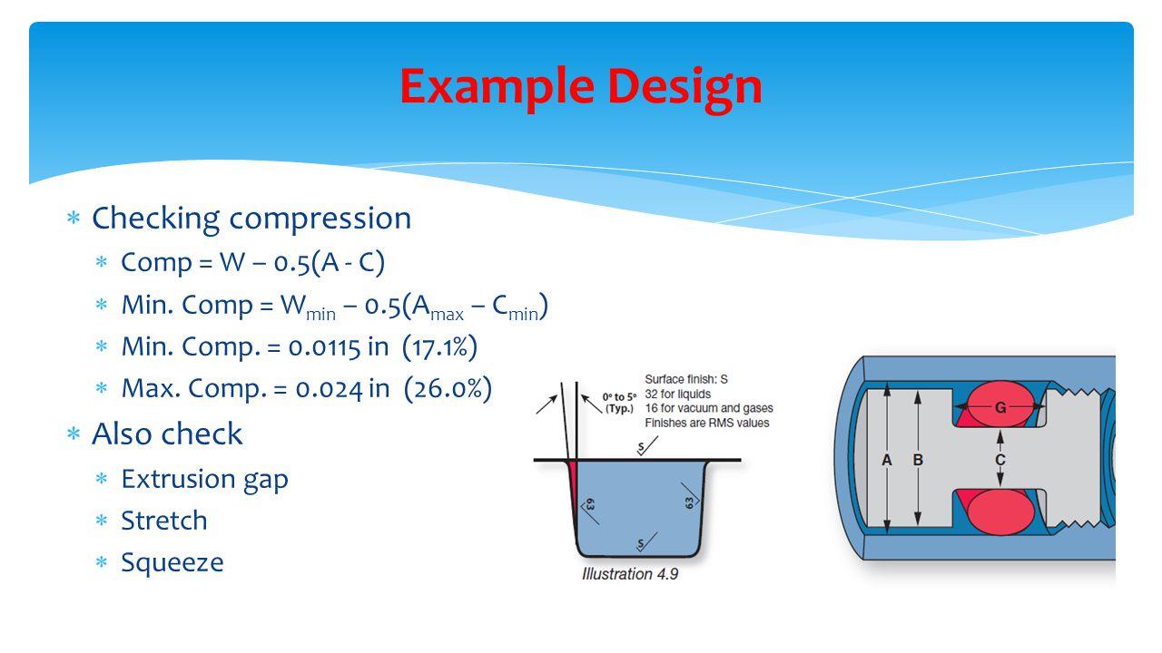 Example Design Checking compression Also check Comp = W – 0.5(A - C)