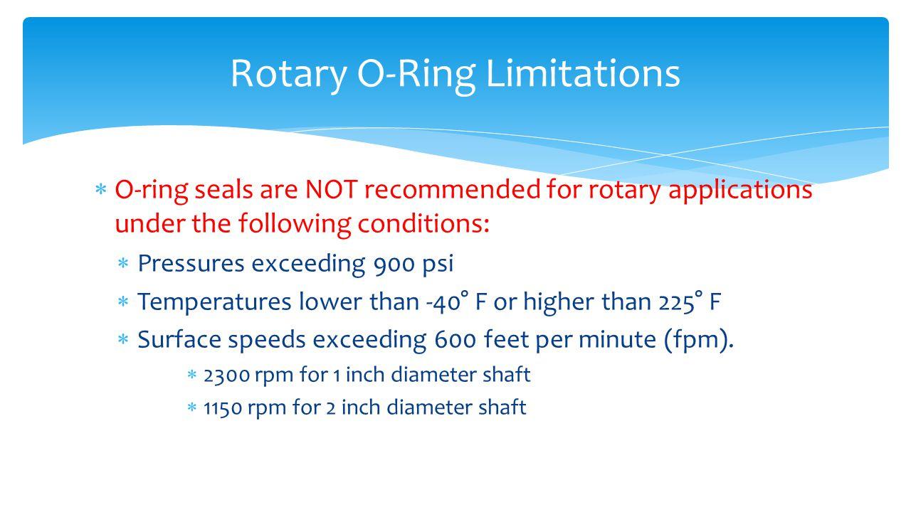 Rotary O-Ring Limitations