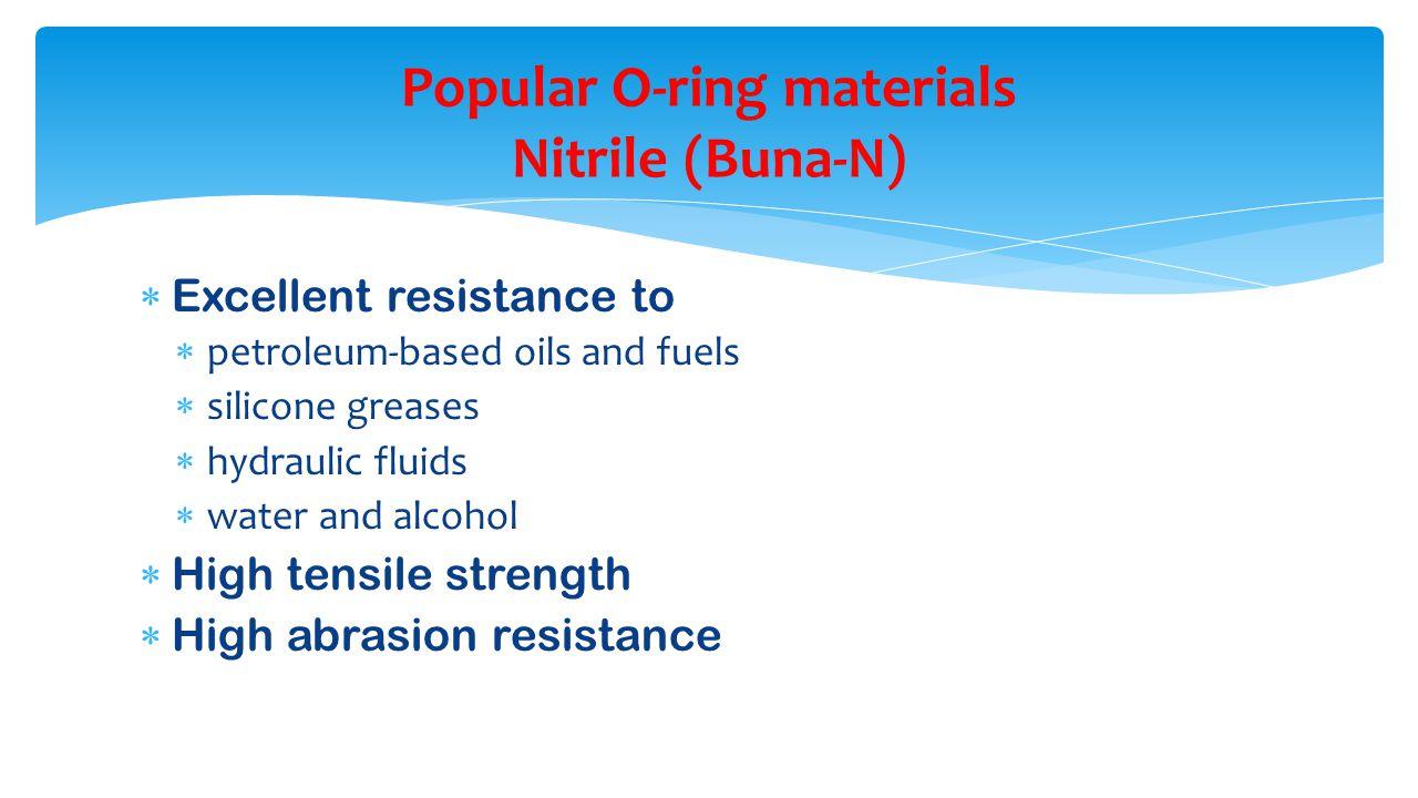 Popular O-ring materials Nitrile (Buna-N)