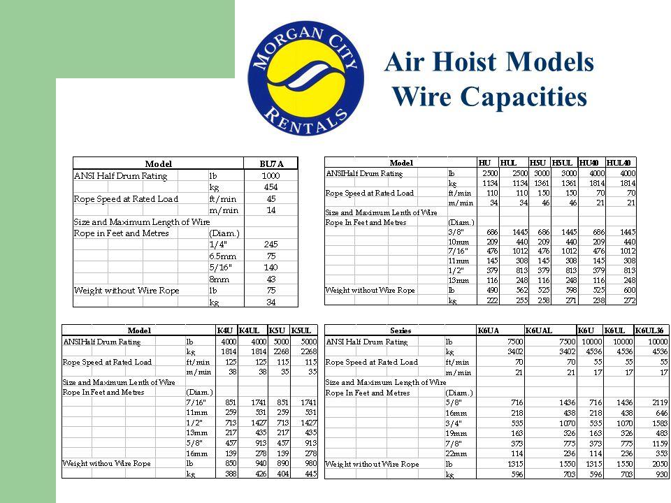 Air Hoist Models Wire Capacities