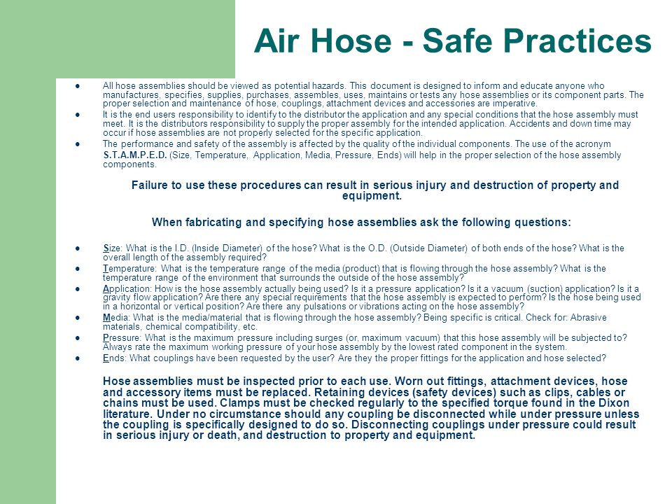 Air Hose - Safe Practices