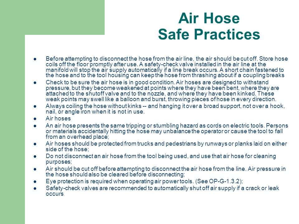 Air Hose Safe Practices