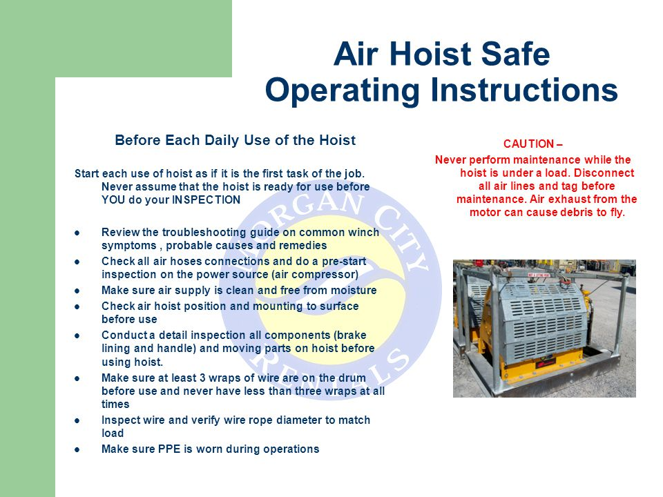 Air Hoist Safe Operating Instructions