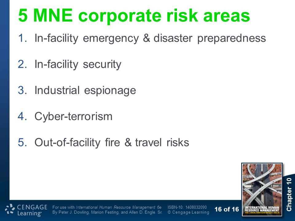 5 MNE corporate risk areas