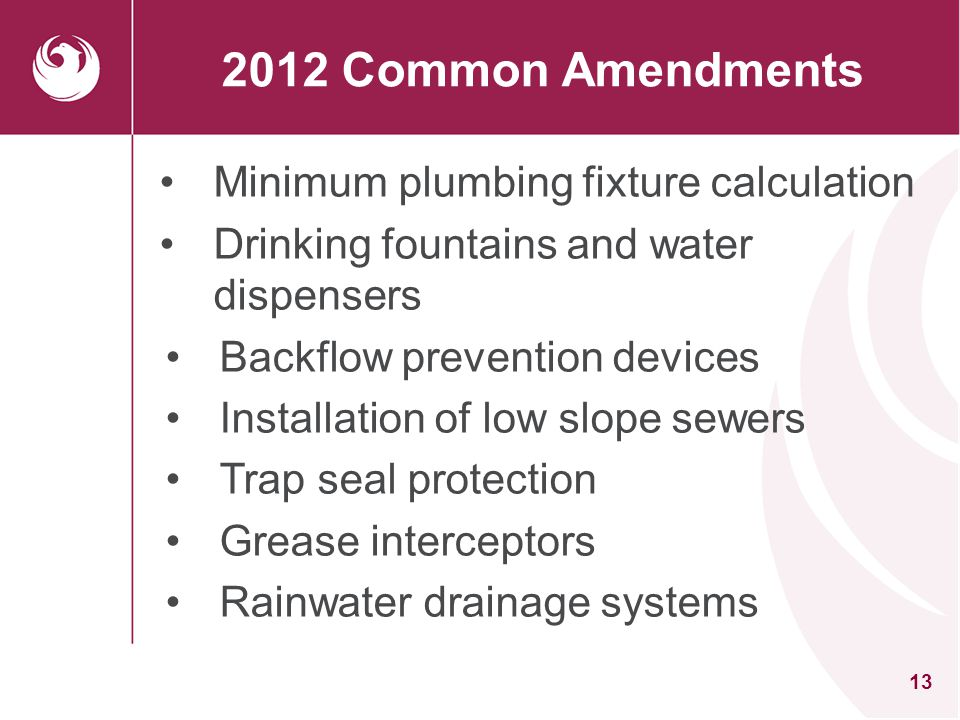 2012 Common Amendments Minimum plumbing fixture calculation