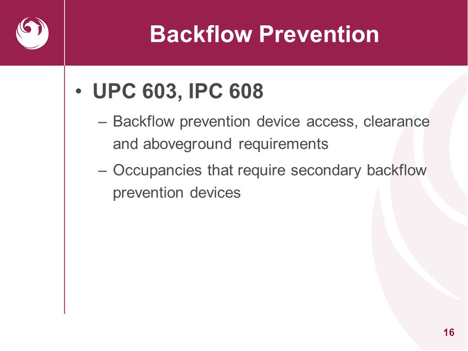 Backflow Prevention UPC 603, IPC 608
