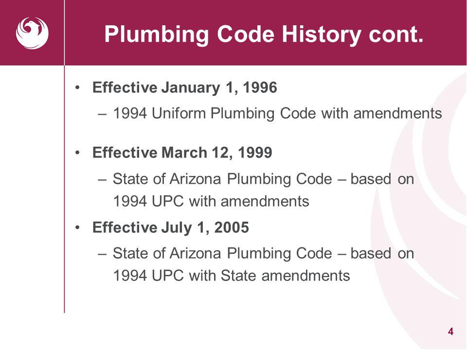 Plumbing Code History cont.
