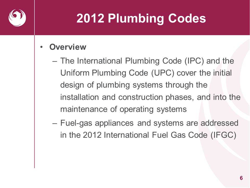 2012 Plumbing Codes Overview