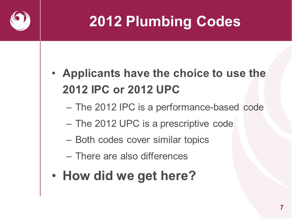 2012 Plumbing Codes How did we get here