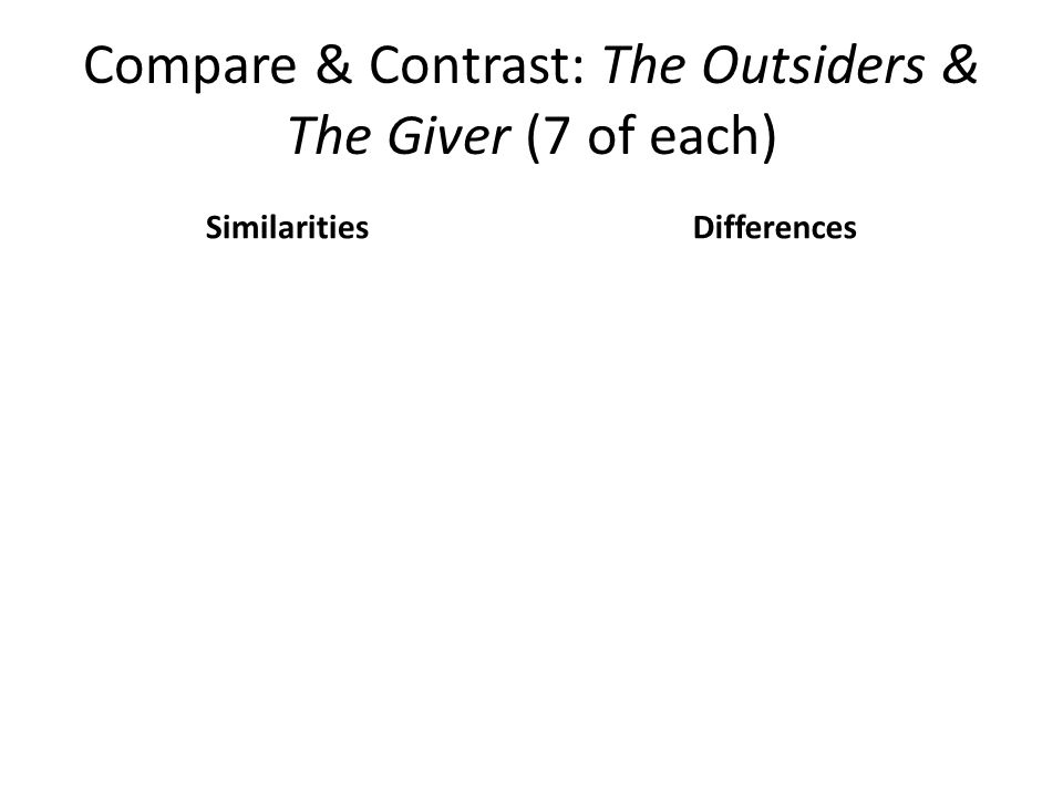 Compare & Contrast: The Outsiders & The Giver (7 of each)