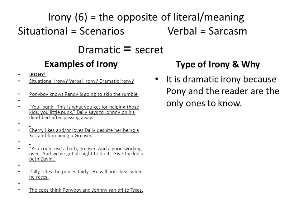 Irony (6) = the opposite of literal/meaning Situational = Scenarios