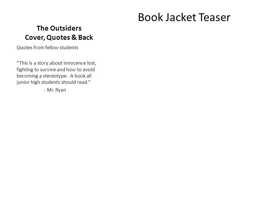 The Outsiders Cover, Quotes & Back