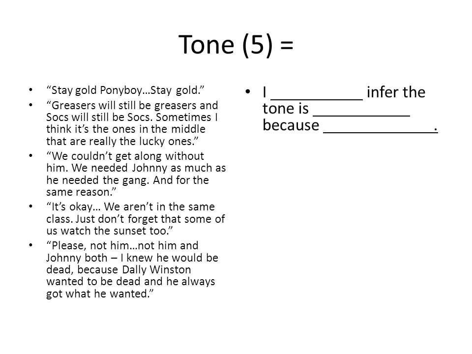 Tone (5) = I infer the tone is because .