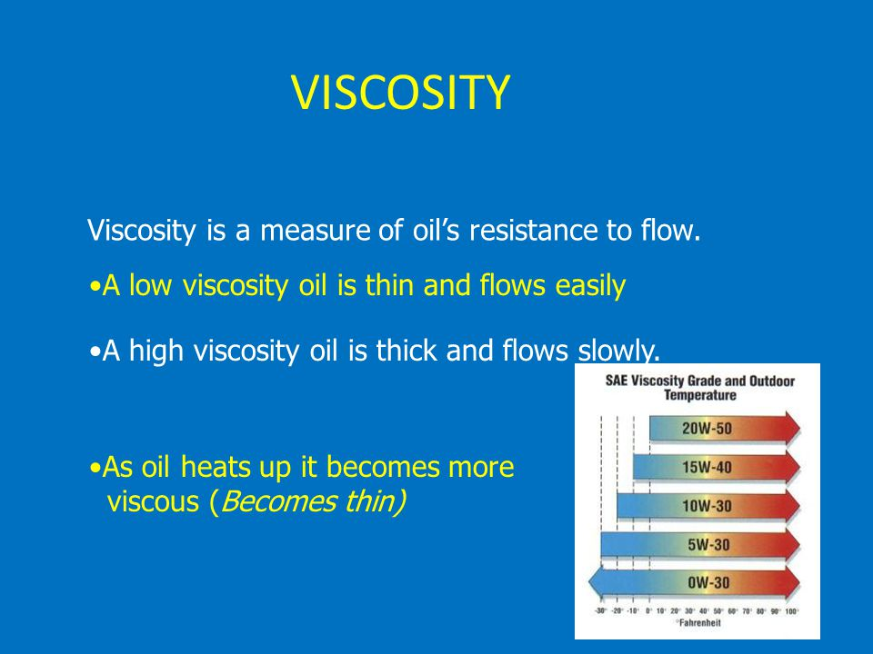 VISCOSITY Viscosity is a measure of oil's resistance to flow.