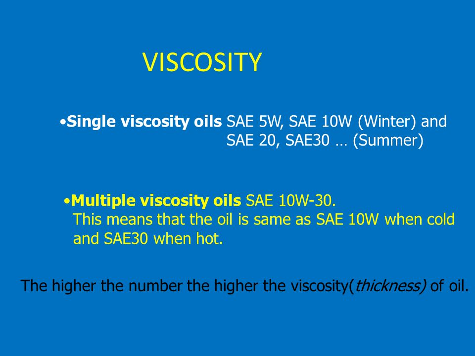 VISCOSITY Single viscosity oils SAE 5W, SAE 10W (Winter) and