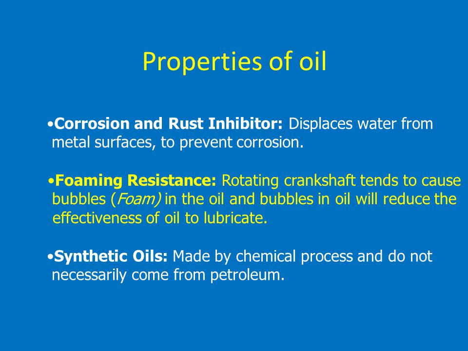 Properties of oil Corrosion and Rust Inhibitor: Displaces water from