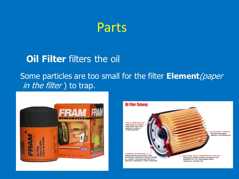 Parts Oil Filter filters the oil
