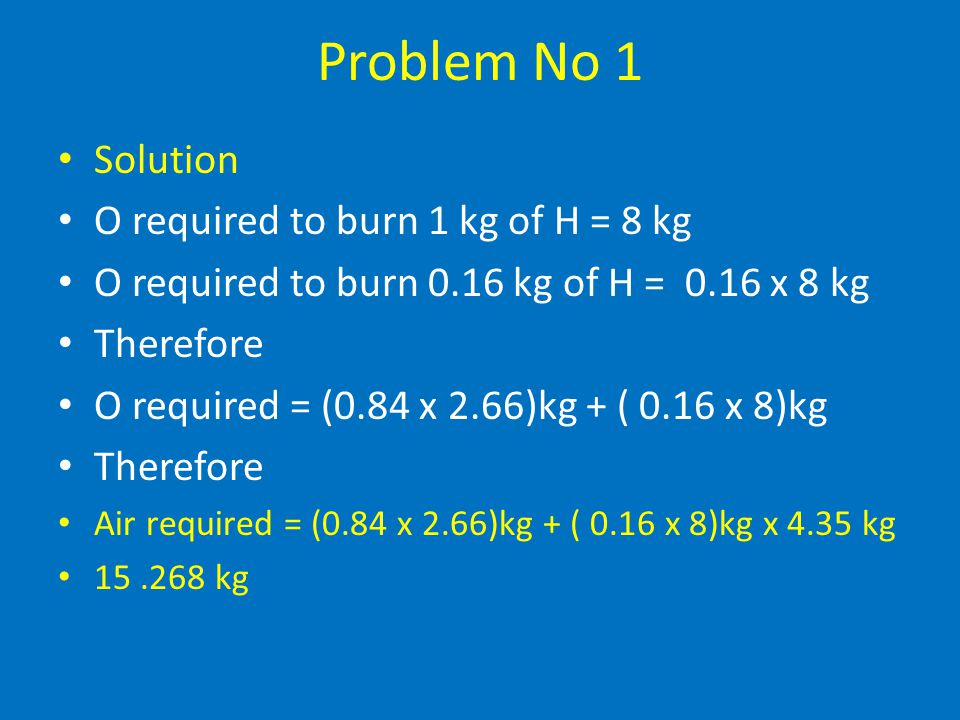 Problem No 1 Solution O required to burn 1 kg of H = 8 kg