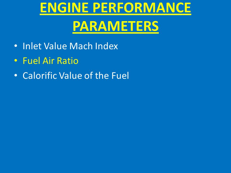 ENGINE PERFORMANCE PARAMETERS