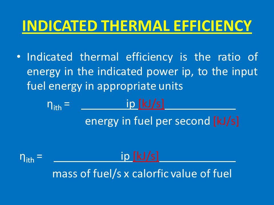 INDICATED THERMAL EFFICIENCY
