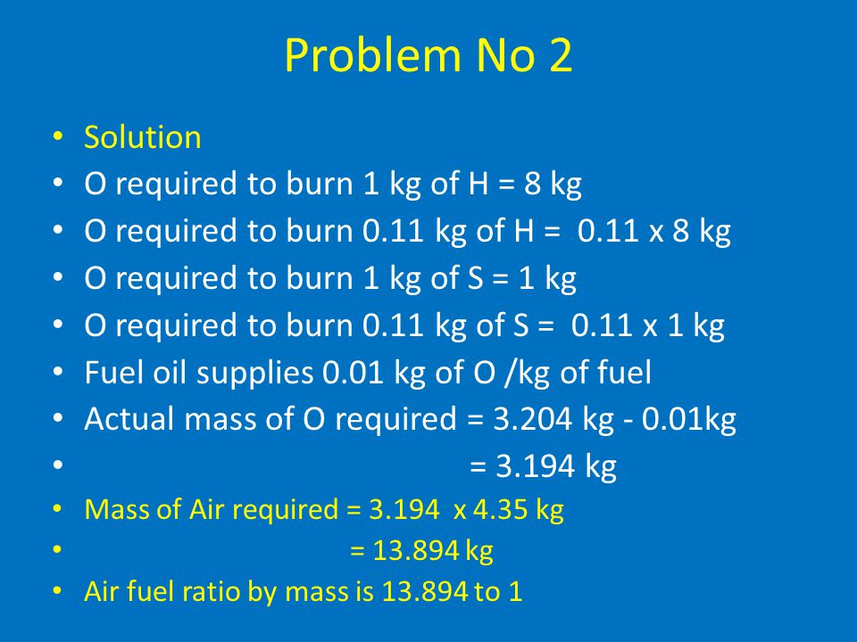 Problem No 2 Solution O required to burn 1 kg of H = 8 kg